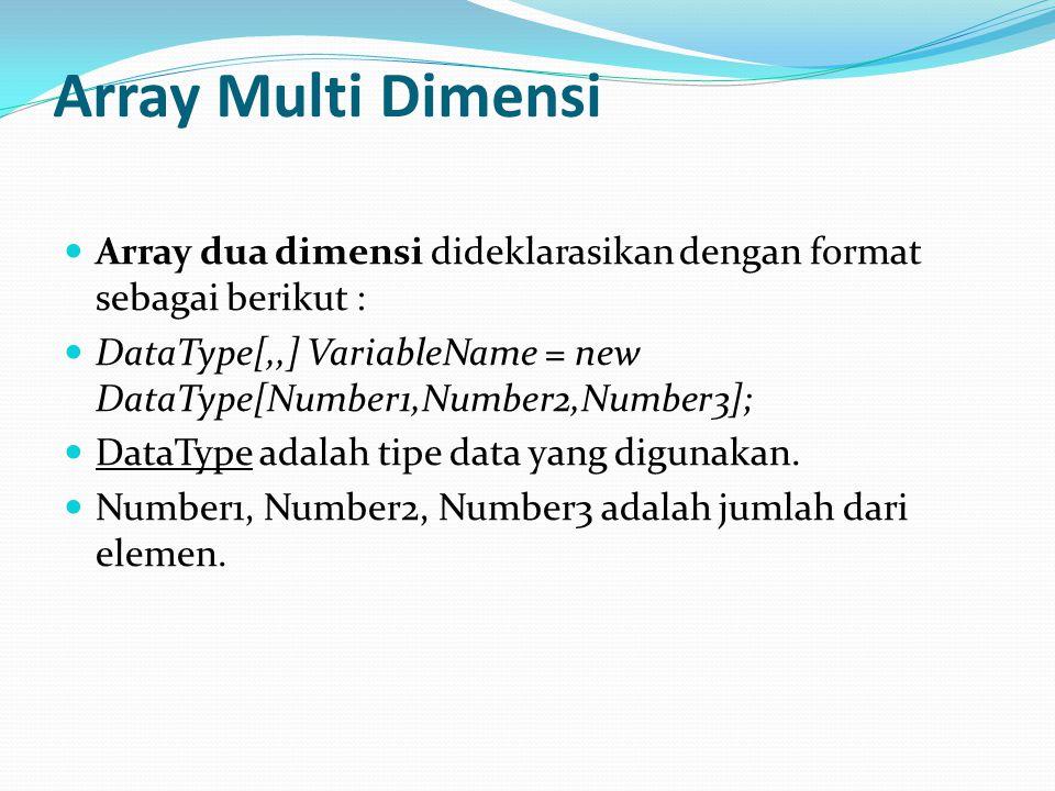 Array Multi Dimensi Array dua dimensi dideklarasikan dengan format sebagai berikut :