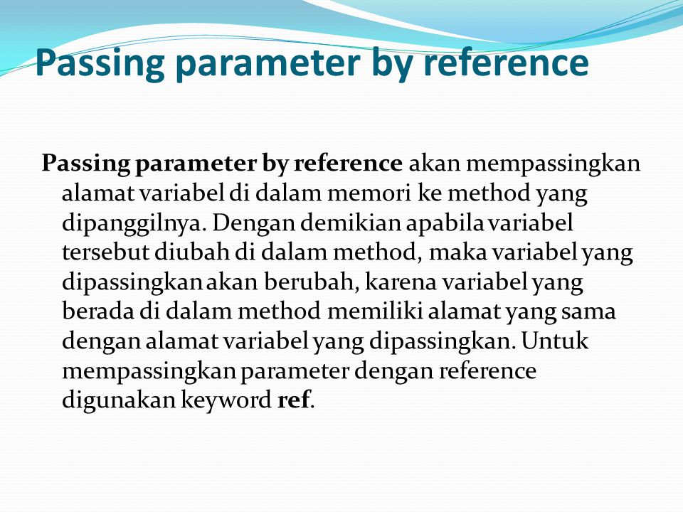 Passing parameter by reference
