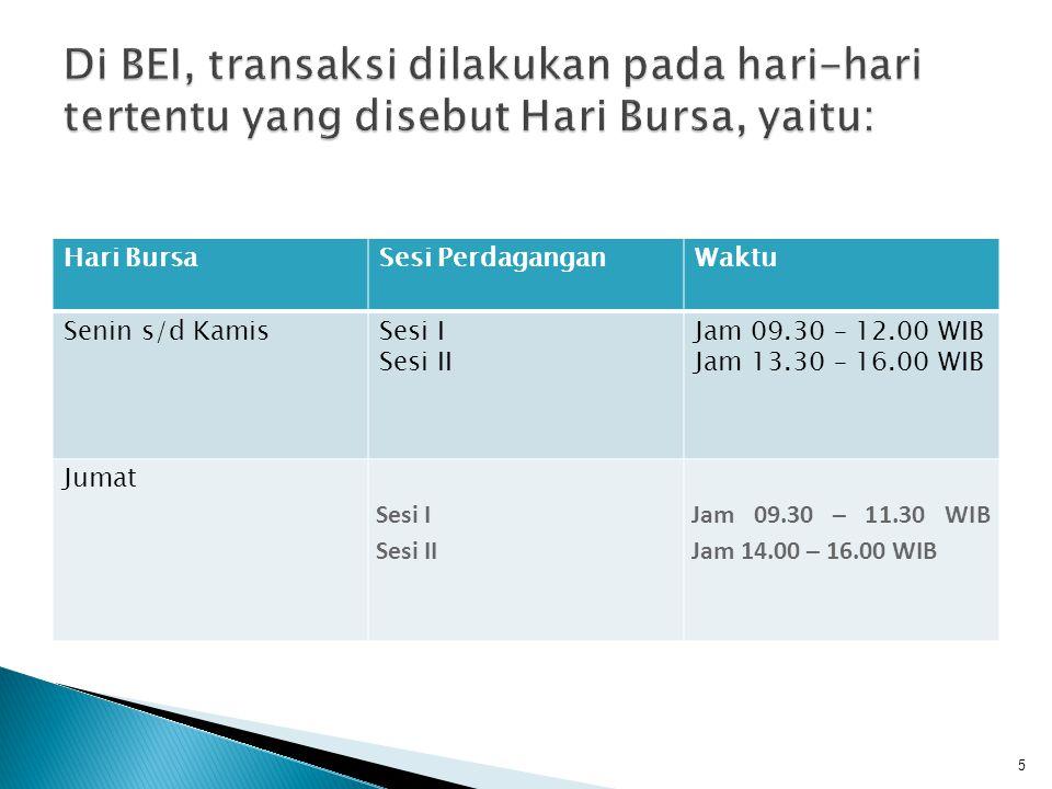 Di BEI, transaksi dilakukan pada hari-hari tertentu yang disebut Hari Bursa, yaitu: