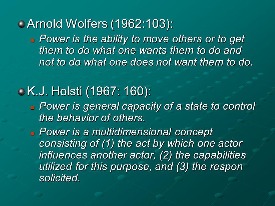 Arnold Wolfers (1962:103): K.J. Holsti (1967: 160):