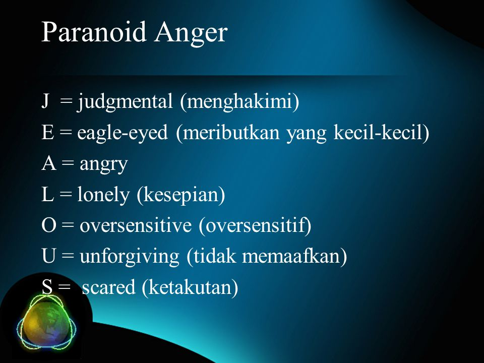 Paranoid Anger J = judgmental (menghakimi)