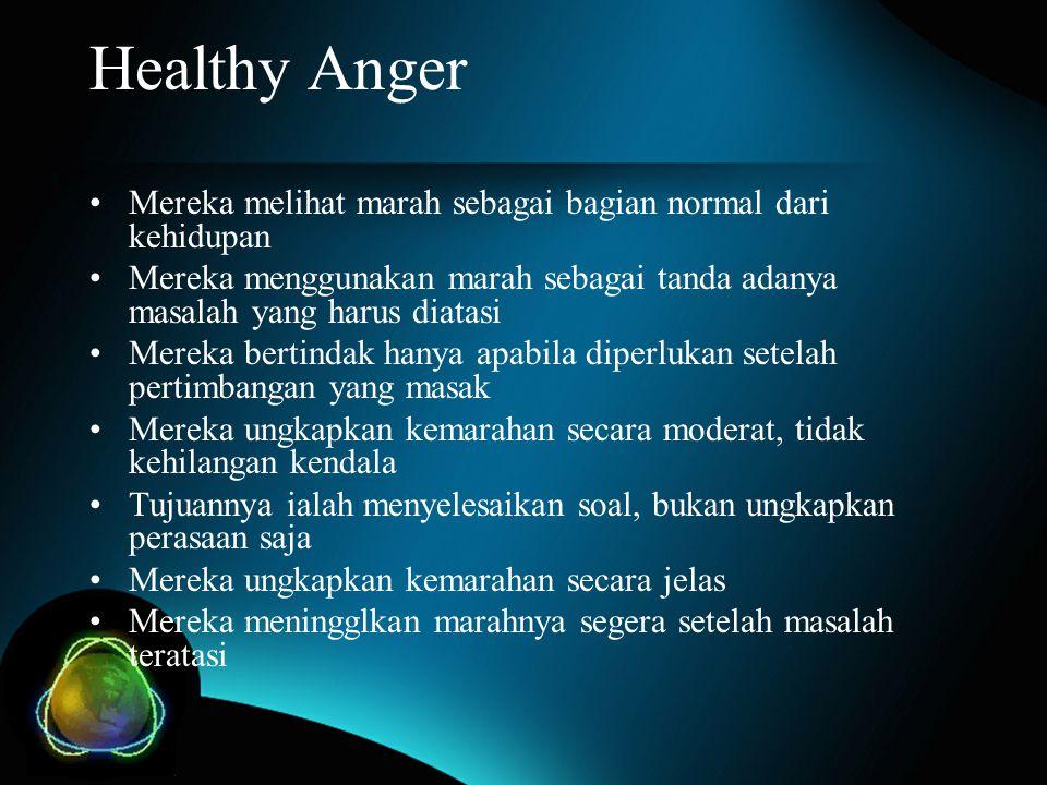 Healthy Anger Mereka melihat marah sebagai bagian normal dari kehidupan. Mereka menggunakan marah sebagai tanda adanya masalah yang harus diatasi.