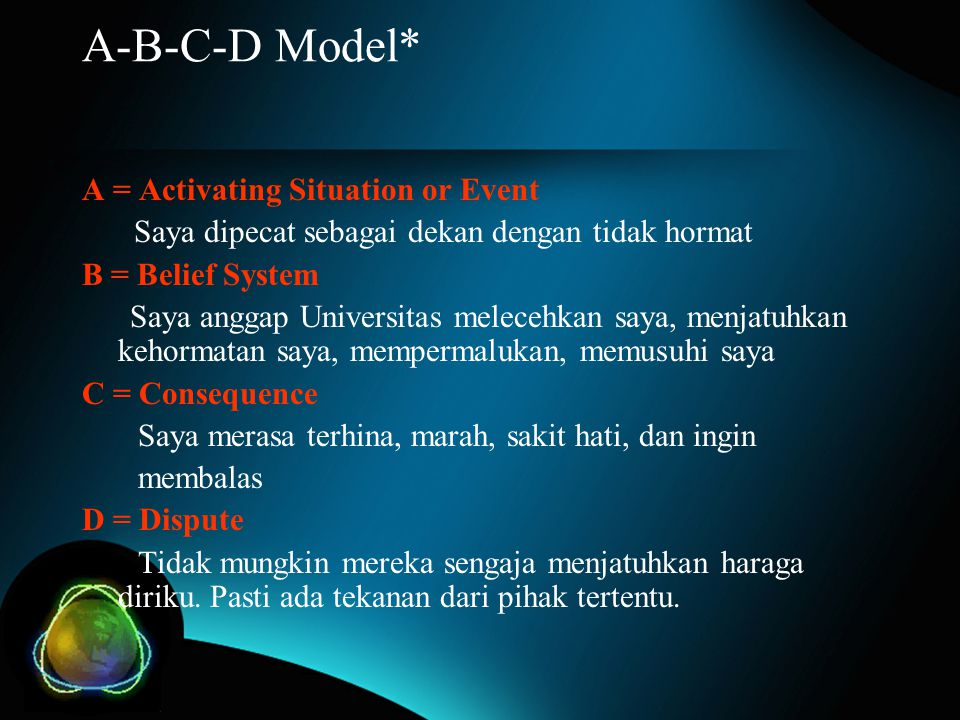A-B-C-D Model* A = Activating Situation or Event