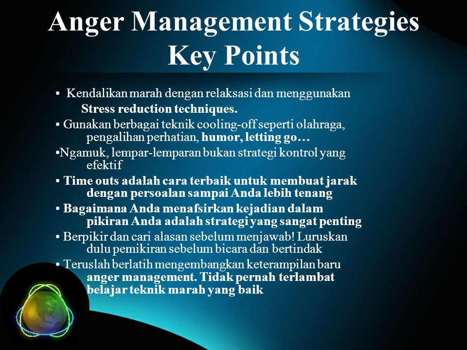 Anger Management Strategies Key Points
