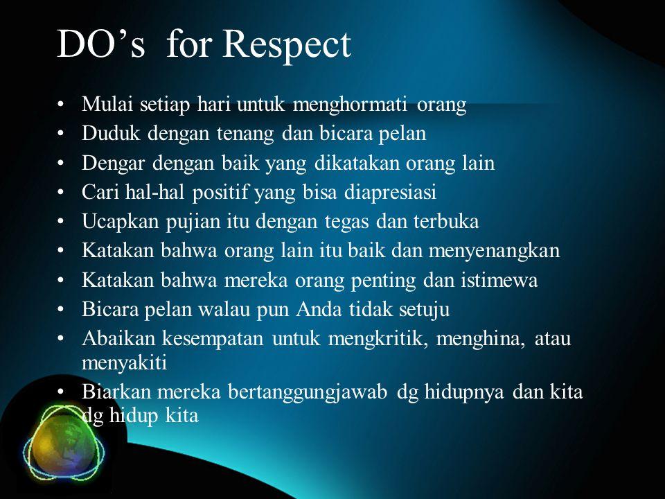 DO's for Respect Mulai setiap hari untuk menghormati orang