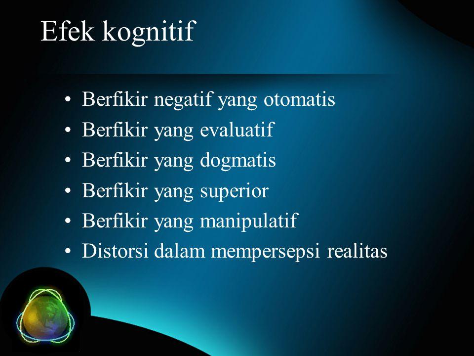 Efek kognitif Berfikir negatif yang otomatis Berfikir yang evaluatif