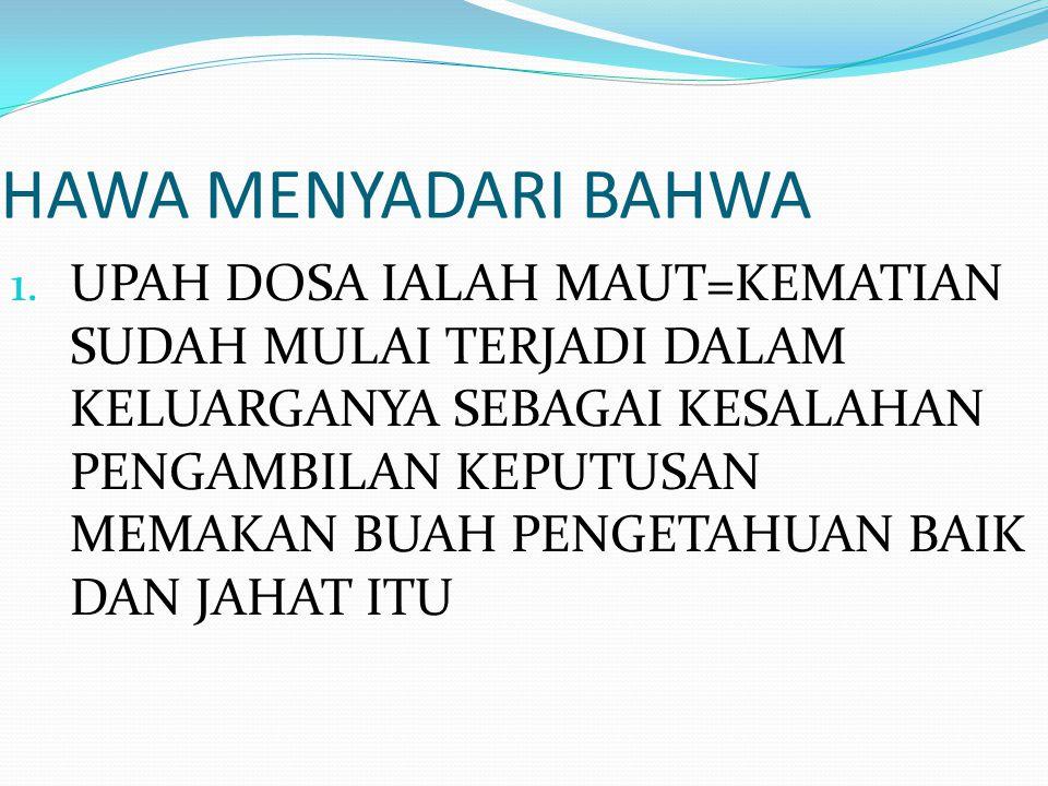 HAWA MENYADARI BAHWA