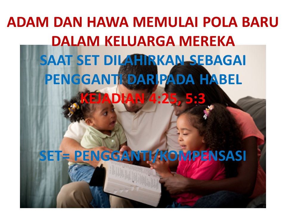 ADAM DAN HAWA MEMULAI POLA BARU DALAM KELUARGA MEREKA SAAT SET DILAHIRKAN SEBAGAI PENGGANTI DARIPADA HABEL KEJADIAN 4:25, 5:3 SET= PENGGANTI/KOMPENSASI