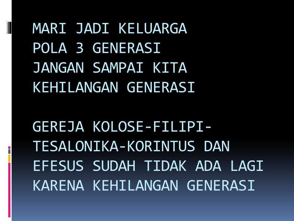 MARI JADI KELUARGA POLA 3 GENERASI JANGAN SAMPAI KITA KEHILANGAN GENERASI GEREJA KOLOSE-FILIPI-TESALONIKA-KORINTUS DAN EFESUS SUDAH TIDAK ADA LAGI KARENA KEHILANGAN GENERASI