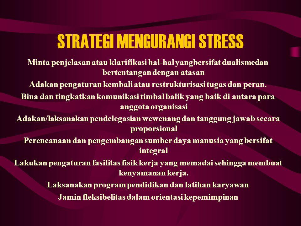 STRATEGI MENGURANGI STRESS