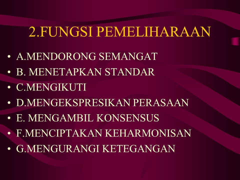 2.FUNGSI PEMELIHARAAN A.MENDORONG SEMANGAT B. MENETAPKAN STANDAR