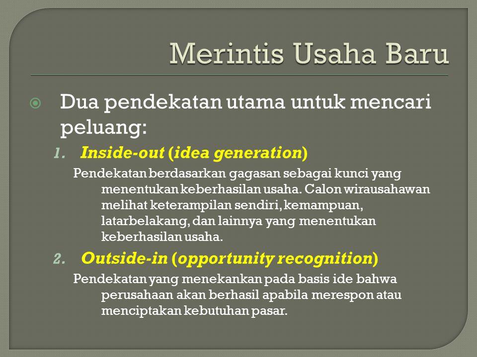 Merintis Usaha Baru Dua pendekatan utama untuk mencari peluang: