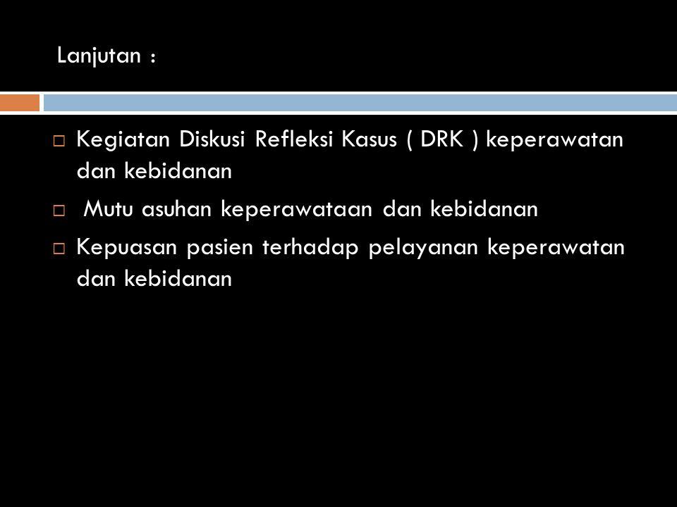 Lanjutan : Kegiatan Diskusi Refleksi Kasus ( DRK ) keperawatan dan kebidanan. Mutu asuhan keperawataan dan kebidanan.
