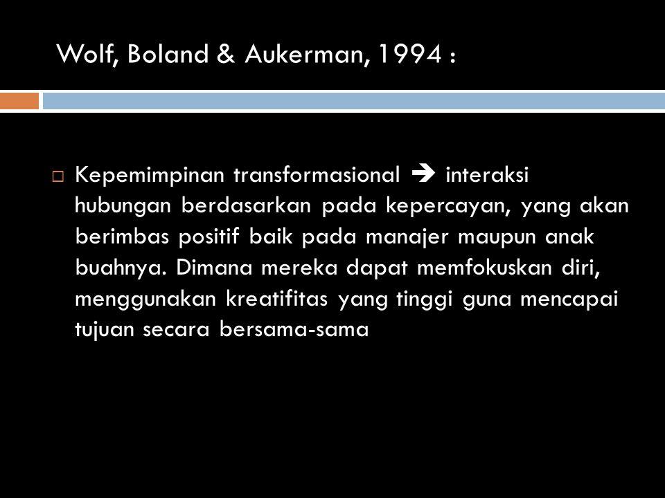 Wolf, Boland & Aukerman, 1994 :
