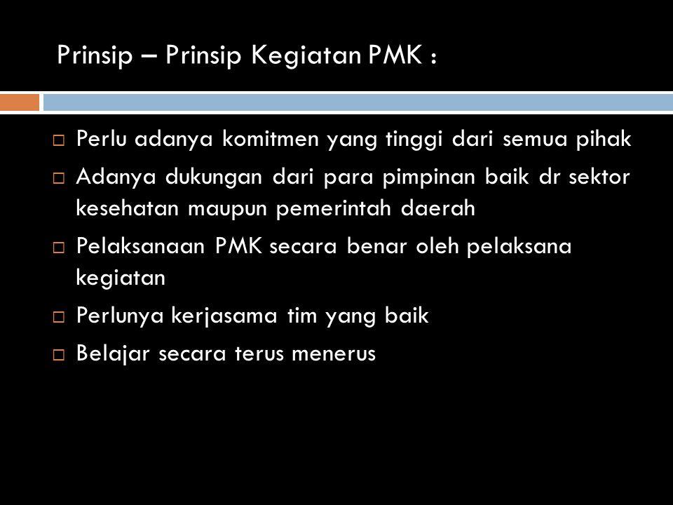 Prinsip – Prinsip Kegiatan PMK :