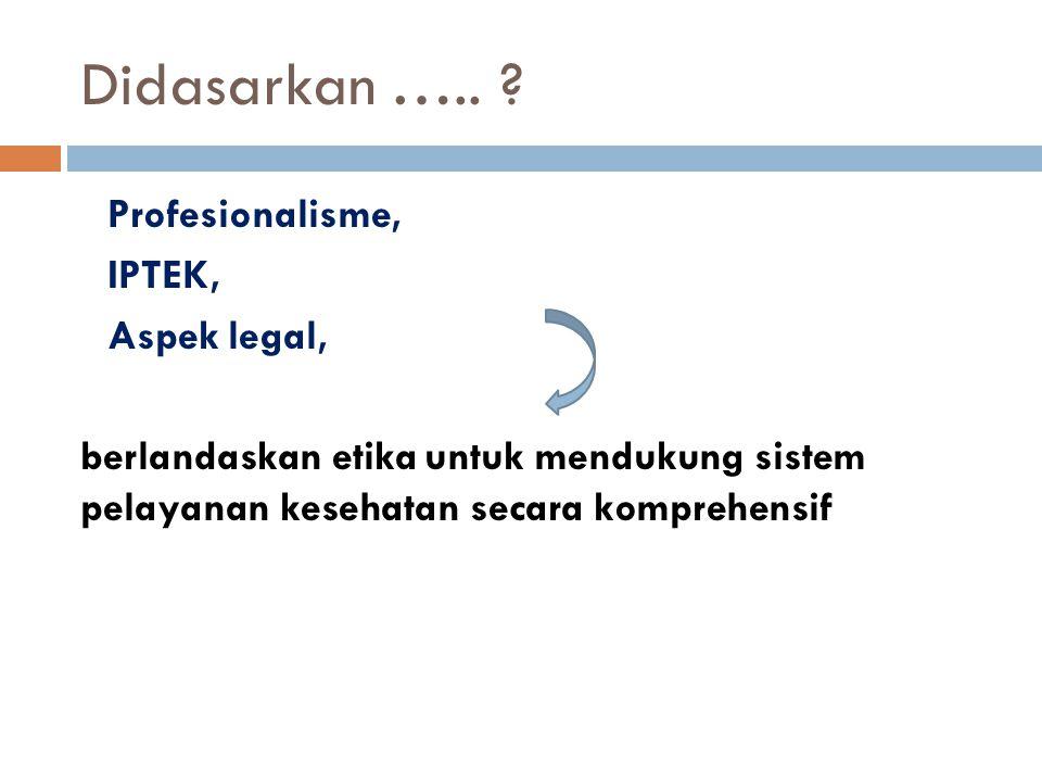 Didasarkan ….. Profesionalisme, IPTEK, Aspek legal,
