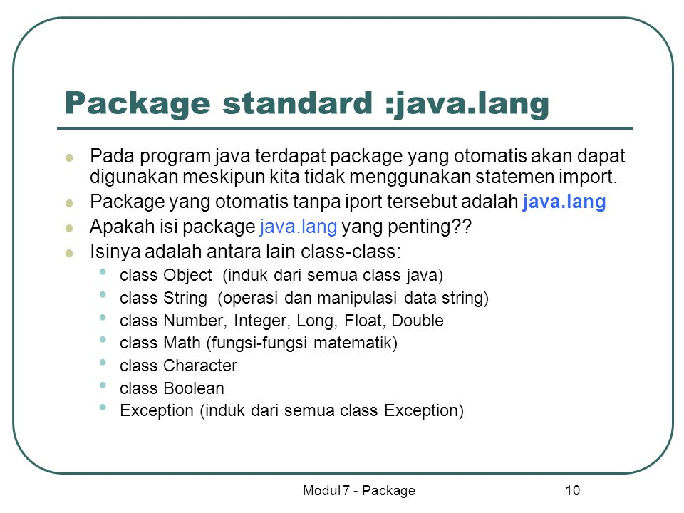 Package standard :java.lang