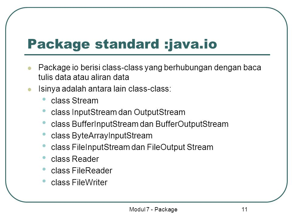 Package standard :java.io