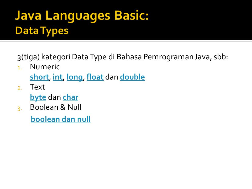 Java Languages Basic: Data Types