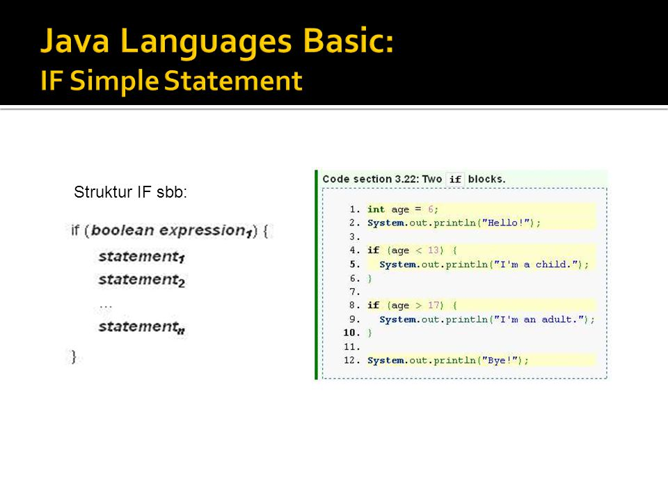 Java Languages Basic: IF Simple Statement
