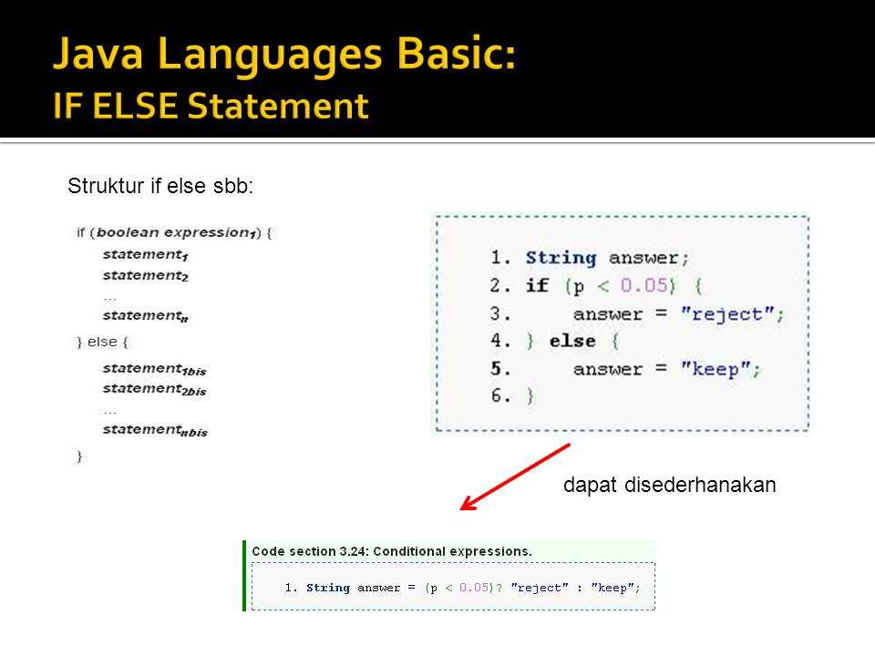 Java Languages Basic: IF ELSE Statement