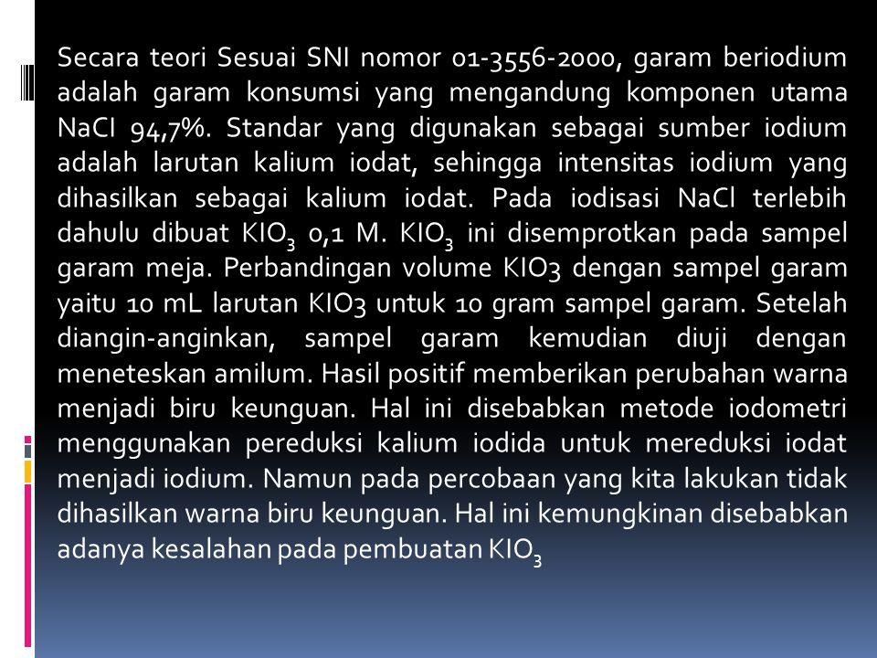 Secara teori Sesuai SNI nomor 01-3556-2000, garam beriodium adalah garam konsumsi yang mengandung komponen utama NaCI 94,7%.