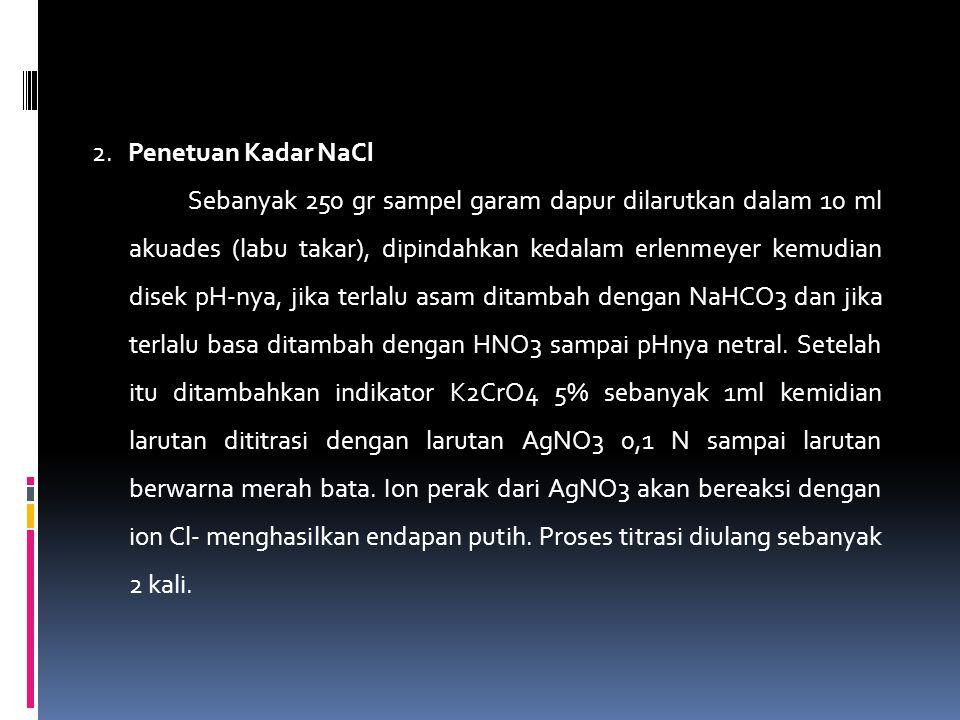 2. Penetuan Kadar NaCl