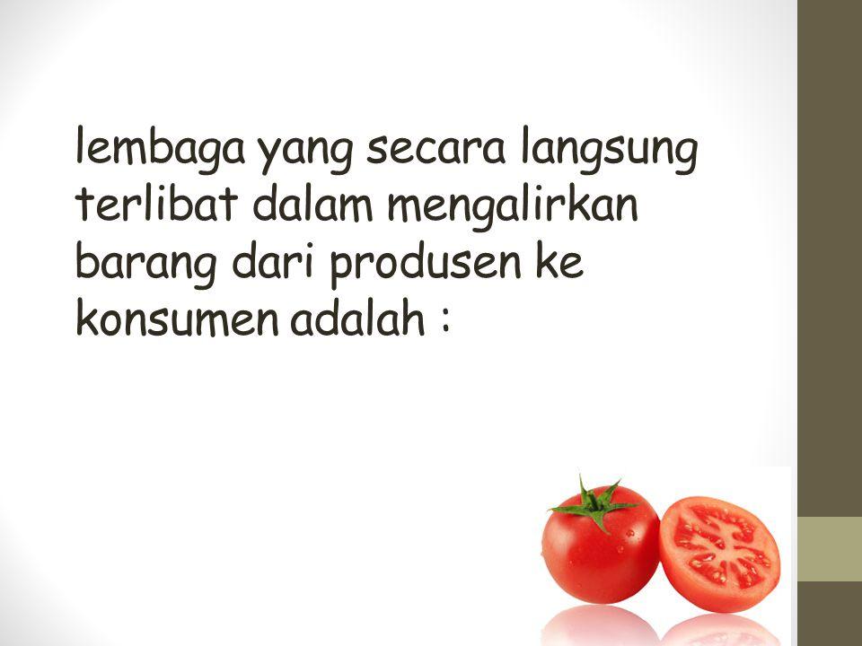 lembaga yang secara langsung terlibat dalam mengalirkan barang dari produsen ke konsumen adalah :