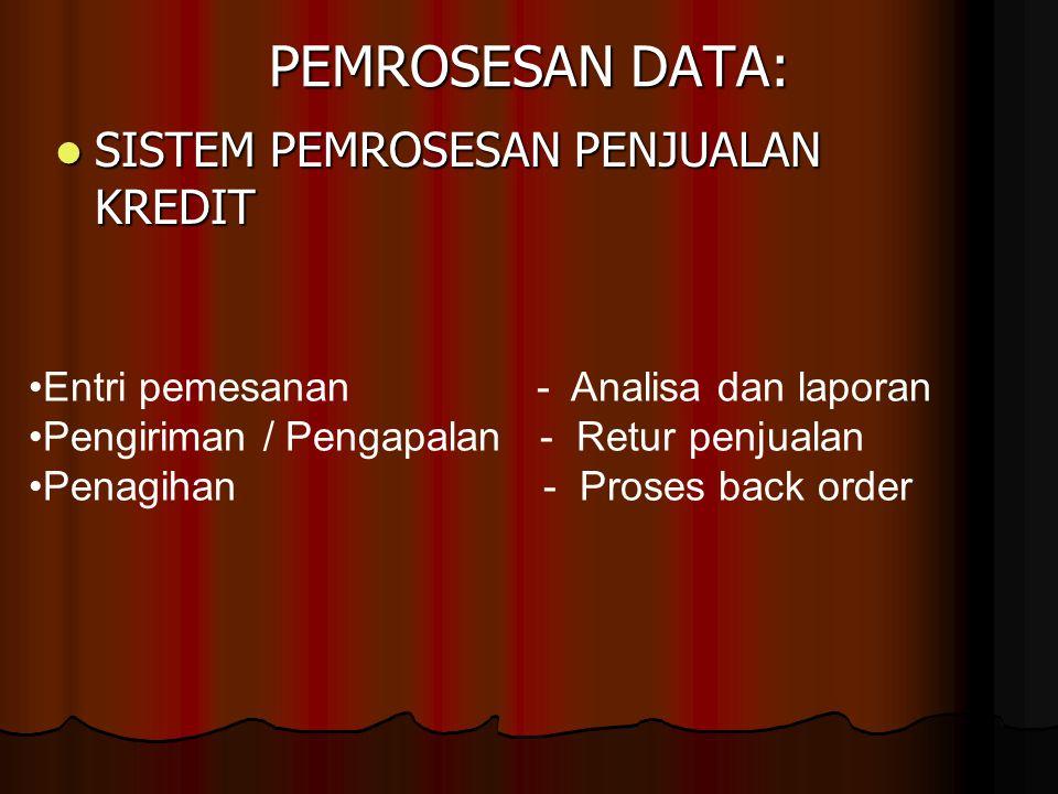 PEMROSESAN DATA: SISTEM PEMROSESAN PENJUALAN KREDIT