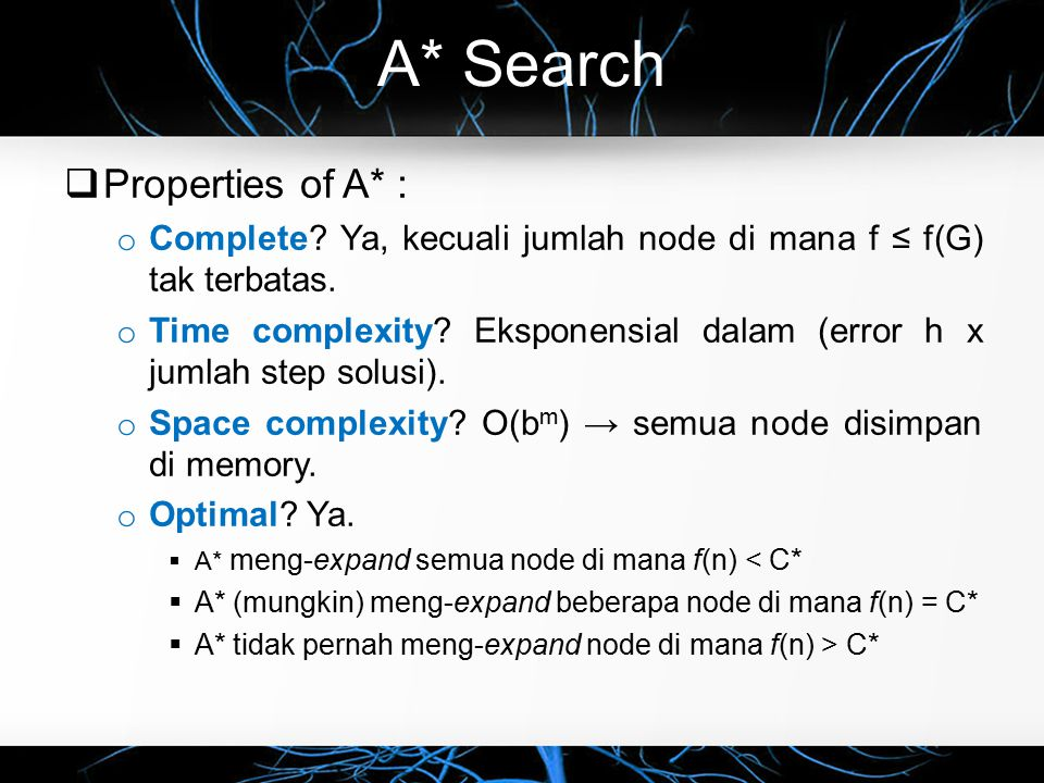 A* Search Properties of A* :