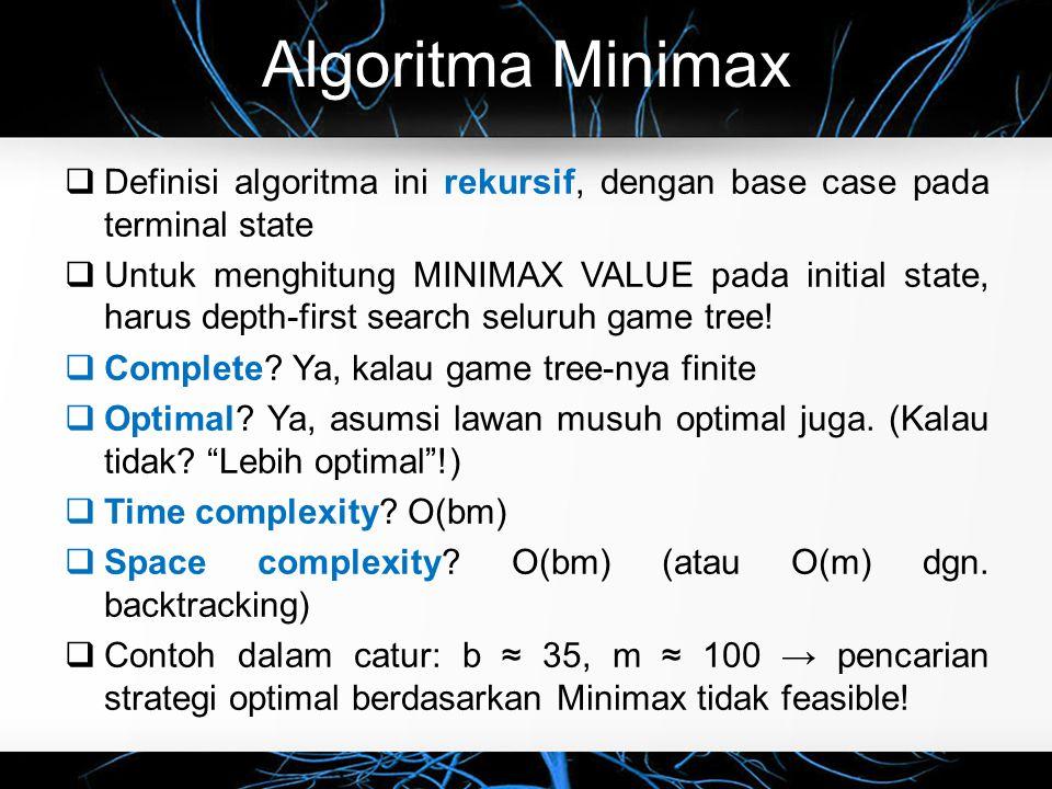 Algoritma Minimax Definisi algoritma ini rekursif, dengan base case pada terminal state.