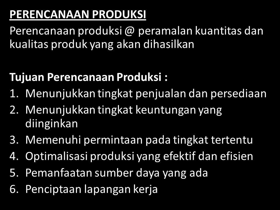 PERENCANAAN PRODUKSI Perencanaan produksi @ peramalan kuantitas dan kualitas produk yang akan dihasilkan.