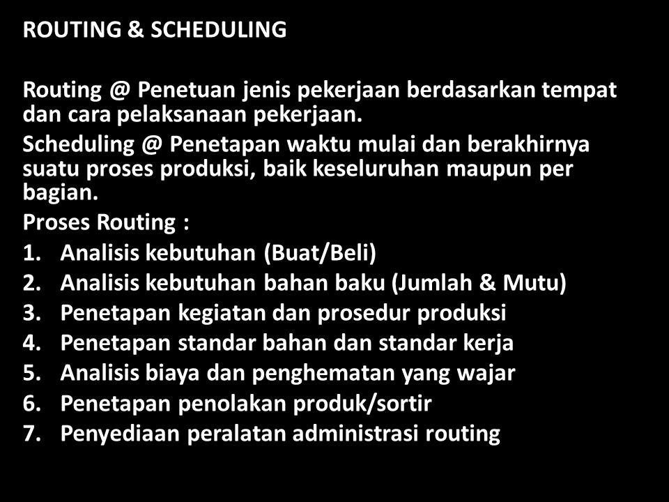 ROUTING & SCHEDULING Routing @ Penetuan jenis pekerjaan berdasarkan tempat dan cara pelaksanaan pekerjaan.