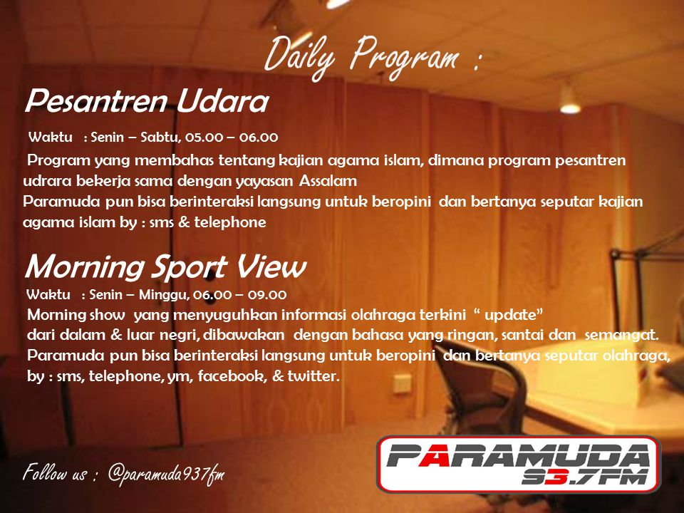 Daily Program : Pesantren Udara Morning Sport View