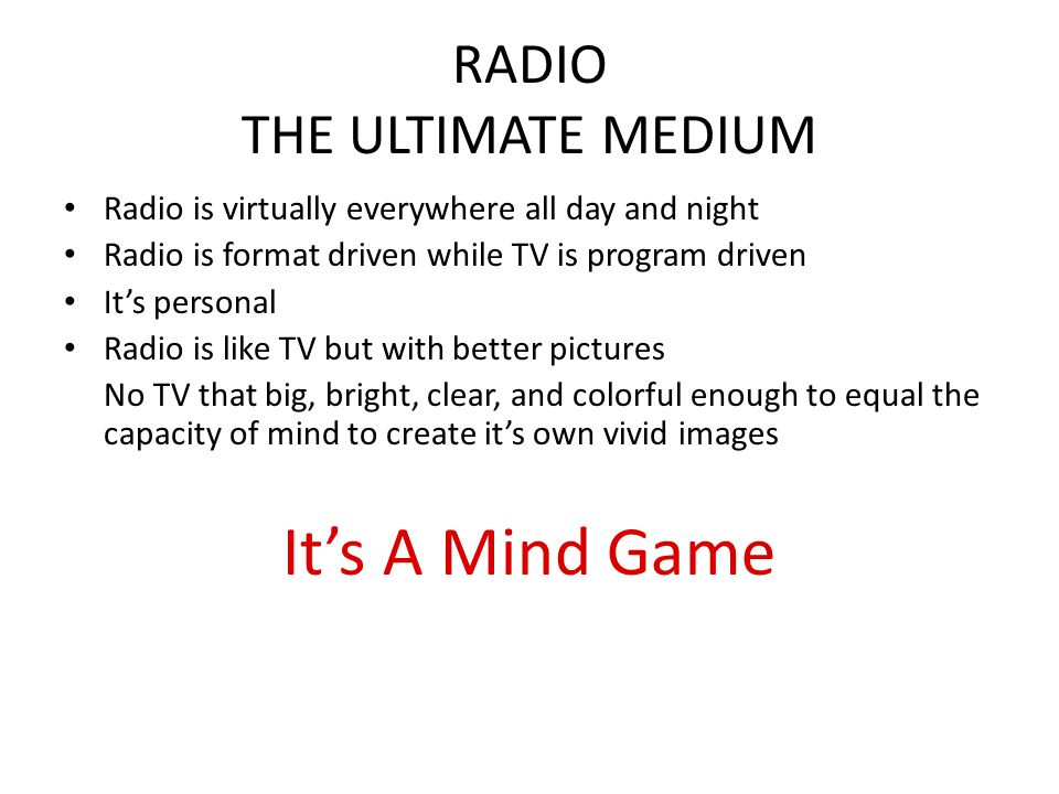 RADIO THE ULTIMATE MEDIUM