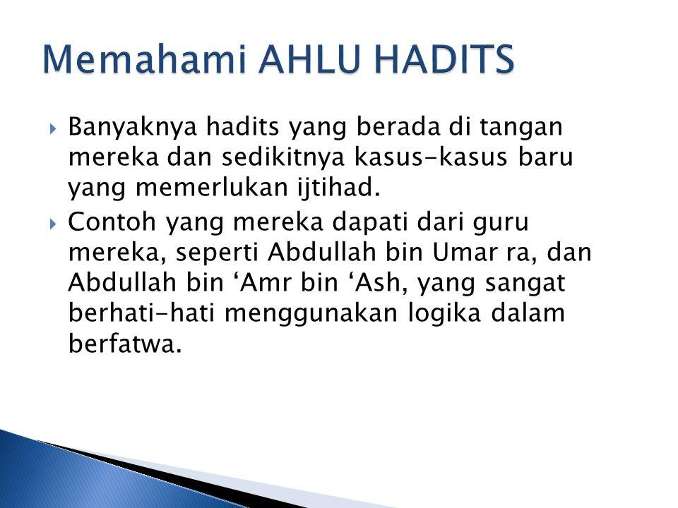 Memahami AHLU HADITS Banyaknya hadits yang berada di tangan mereka dan sedikitnya kasus-kasus baru yang memerlukan ijtihad.