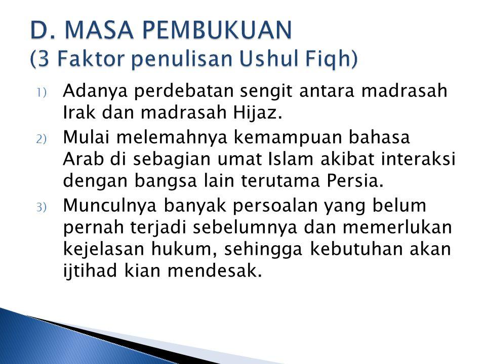D. MASA PEMBUKUAN (3 Faktor penulisan Ushul Fiqh)