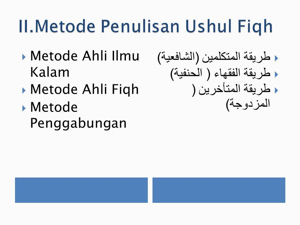 II.Metode Penulisan Ushul Fiqh