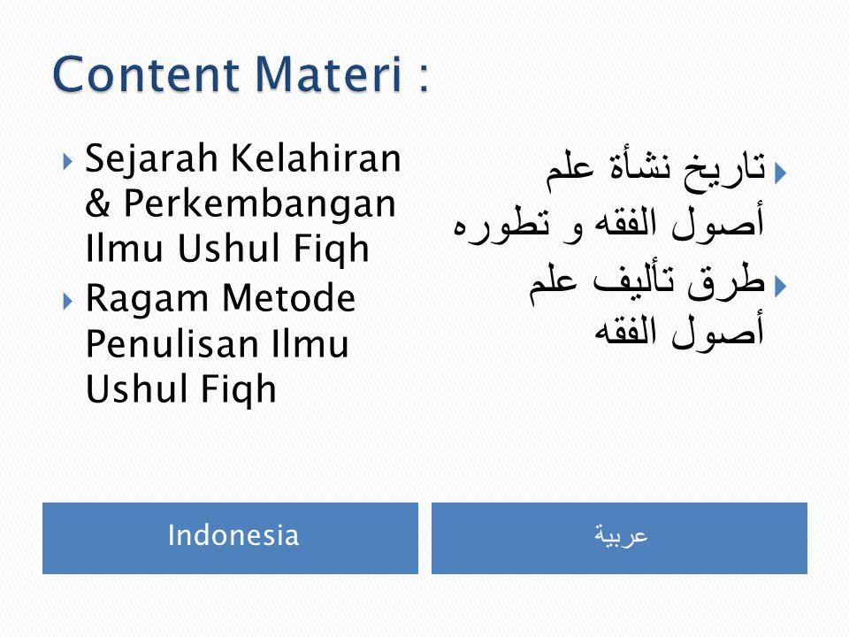 Content Materi : تاريخ نشأة علم أصول الفقه و تطوره