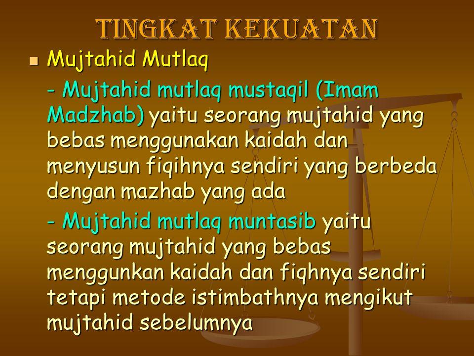 Tingkat kekuatan Mujtahid Mutlaq