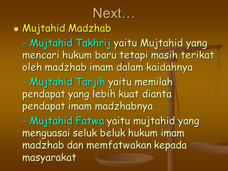 Next… Mujtahid Madzhab