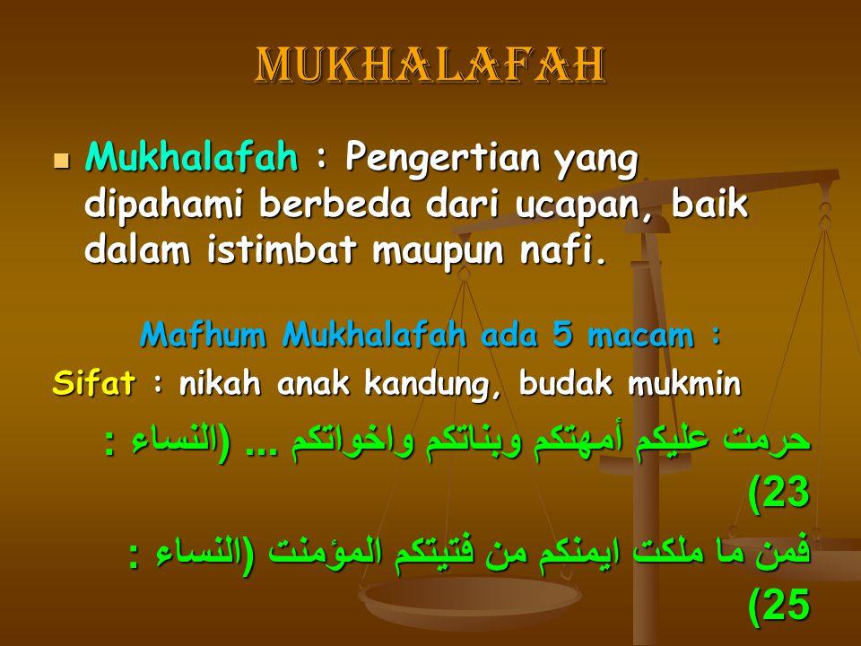 Mafhum Mukhalafah ada 5 macam :