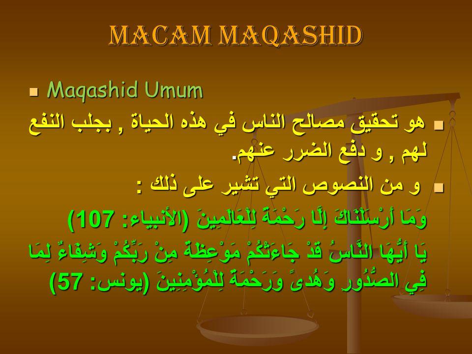 Macam maqashid Maqashid Umum. هو تحقيق مصالح الناس في هذه الحياة , بجلب النفع لهم , و دفع الضرر عنهم.