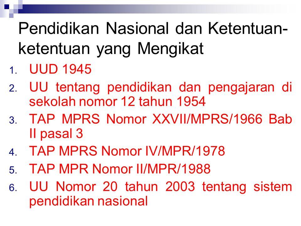 Pendidikan Nasional dan Ketentuan-ketentuan yang Mengikat