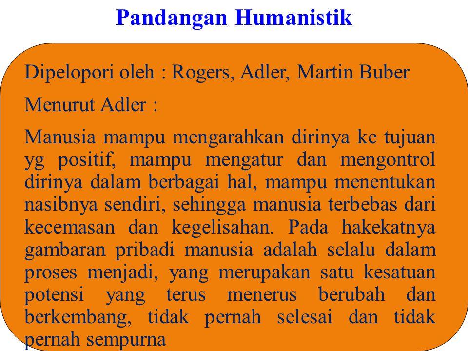 Pandangan Humanistik Dipelopori oleh : Rogers, Adler, Martin Buber