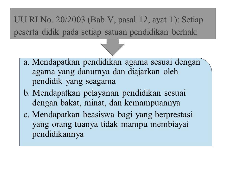 UU RI No. 20/2003 (Bab V, pasal 12, ayat 1): Setiap peserta didik pada setiap satuan pendidikan berhak: