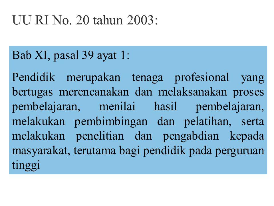 UU RI No. 20 tahun 2003: Bab XI, pasal 39 ayat 1:
