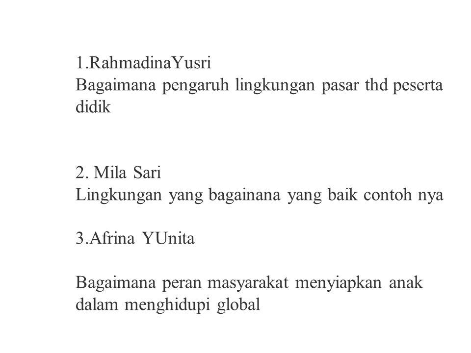 1.RahmadinaYusri Bagaimana pengaruh lingkungan pasar thd peserta didik 2.