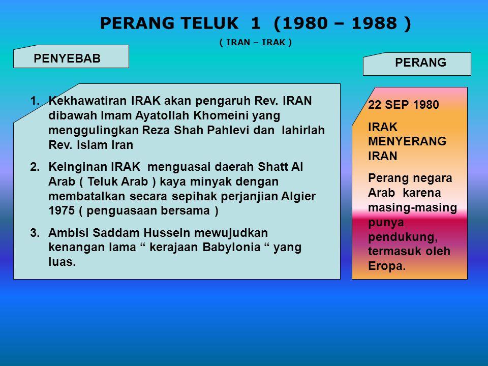 PERANG TELUK 1 (1980 – 1988 ) PENYEBAB PERANG