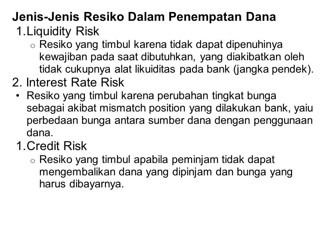 Jenis-Jenis Resiko Dalam Penempatan Dana Liquidity Risk
